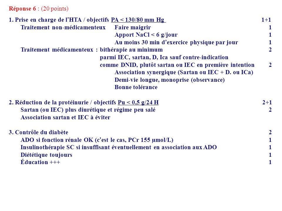 Réponse 6 : (20 points) 1. Prise en charge de l'HTA / objectifs PA < 130/80 mm Hg 1+1.