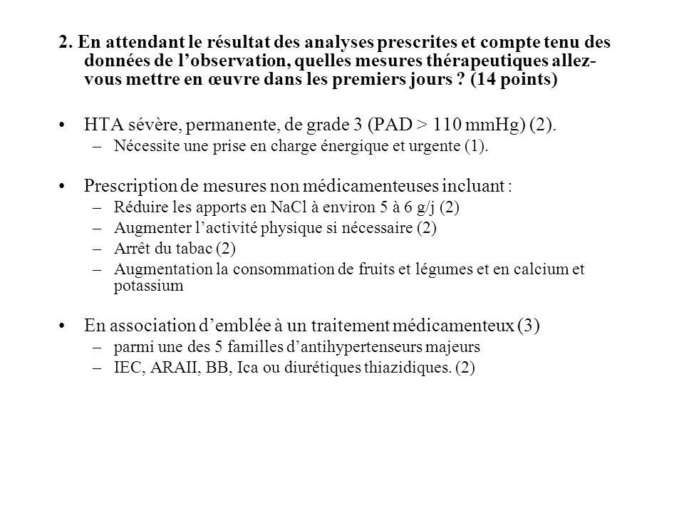 HTA sévère, permanente, de grade 3 (PAD > 110 mmHg) (2).