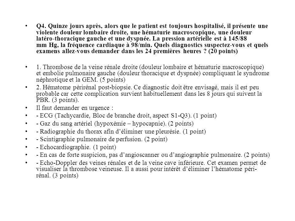 Q4. Quinze jours après, alors que le patient est toujours hospitalisé, il présente une violente douleur lombaire droite, une hématurie macroscopique, une douleur latéro-thoracique gauche et une dyspnée. La pression artérielle est à 145/88 mm Hg, la fréquence cardiaque à 98/min. Quels diagnostics suspectez-vous et quels examens allez-vous demander dans les 24 premières heures (20 points)