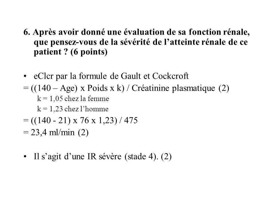 eClcr par la formule de Gault et Cockcroft
