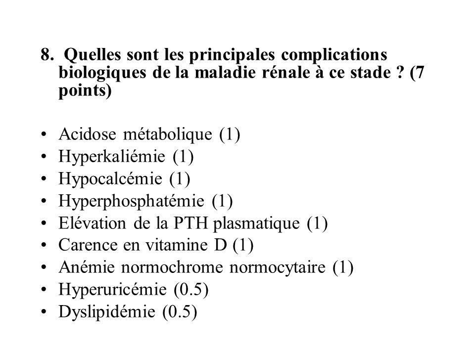 8. Quelles sont les principales complications biologiques de la maladie rénale à ce stade (7 points)