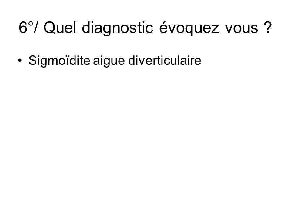 6°/ Quel diagnostic évoquez vous