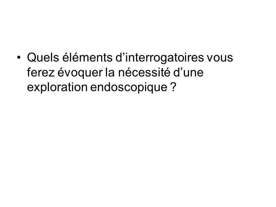 Quels éléments d'interrogatoires vous ferez évoquer la nécessité d'une exploration endoscopique