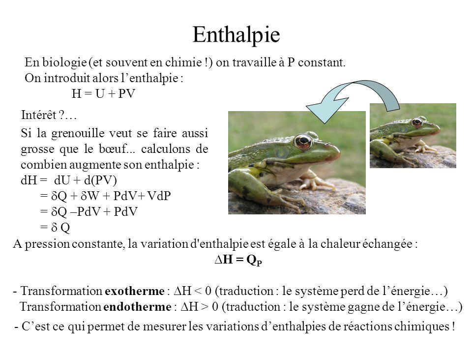 Enthalpie En biologie (et souvent en chimie !) on travaille à P constant. On introduit alors l'enthalpie :
