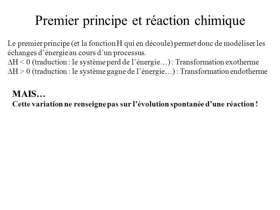 Premier principe et réaction chimique