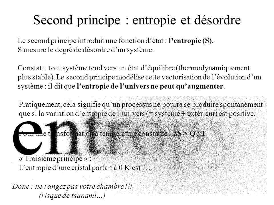 Second principe : entropie et désordre