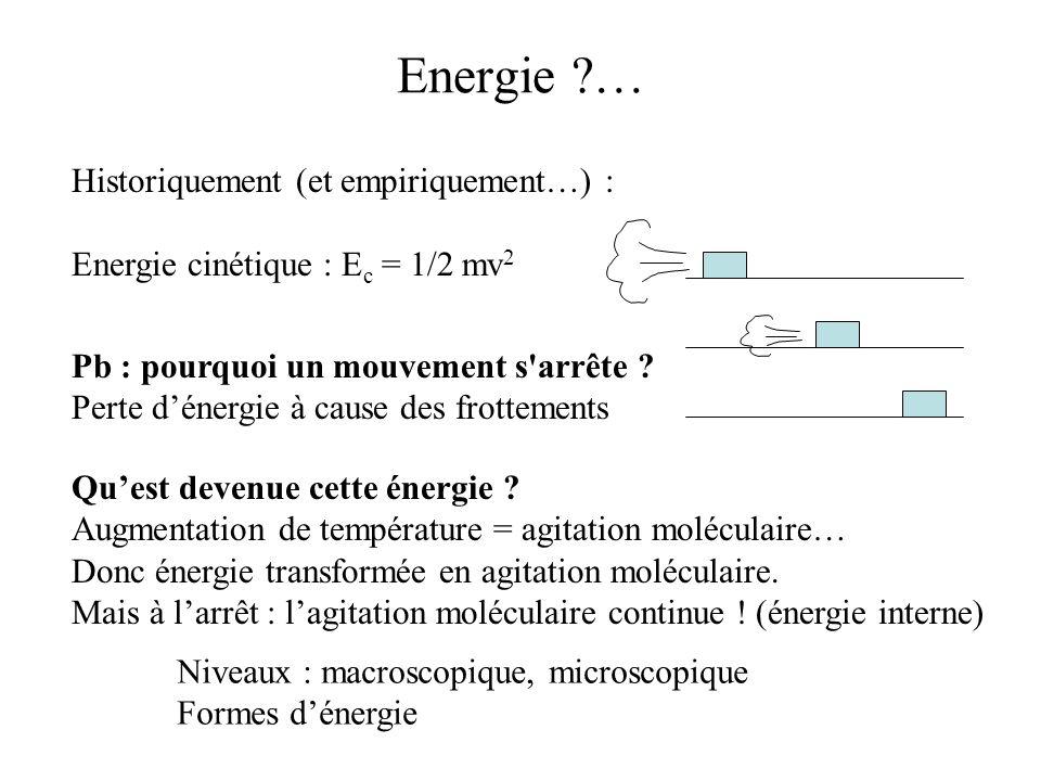 Energie … Historiquement (et empiriquement…) :