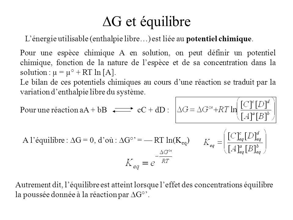 ∆G et équilibre L'énergie utilisable (enthalpie libre…) est liée au potentiel chimique.