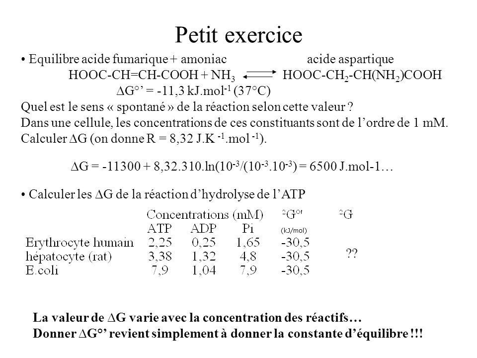 Petit exercice Equilibre acide fumarique + amoniac acide aspartique