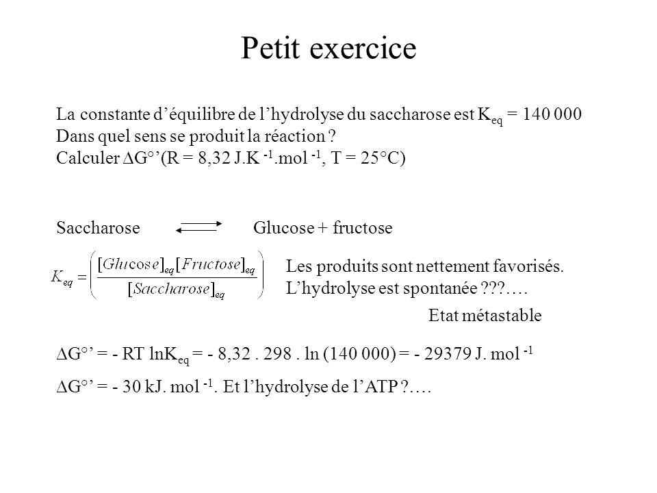 Petit exercice La constante d'équilibre de l'hydrolyse du saccharose est Keq = 140 000. Dans quel sens se produit la réaction