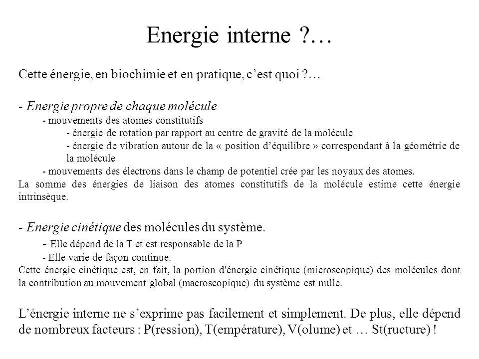 Energie interne … Cette énergie, en biochimie et en pratique, c'est quoi … Energie propre de chaque molécule.