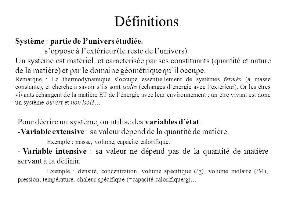 Définitions Système : partie de l'univers étudiée.