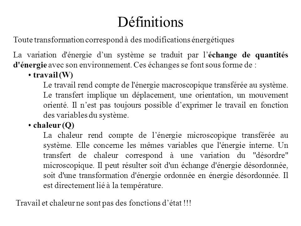 Définitions Toute transformation correspond à des modifications énergétiques.