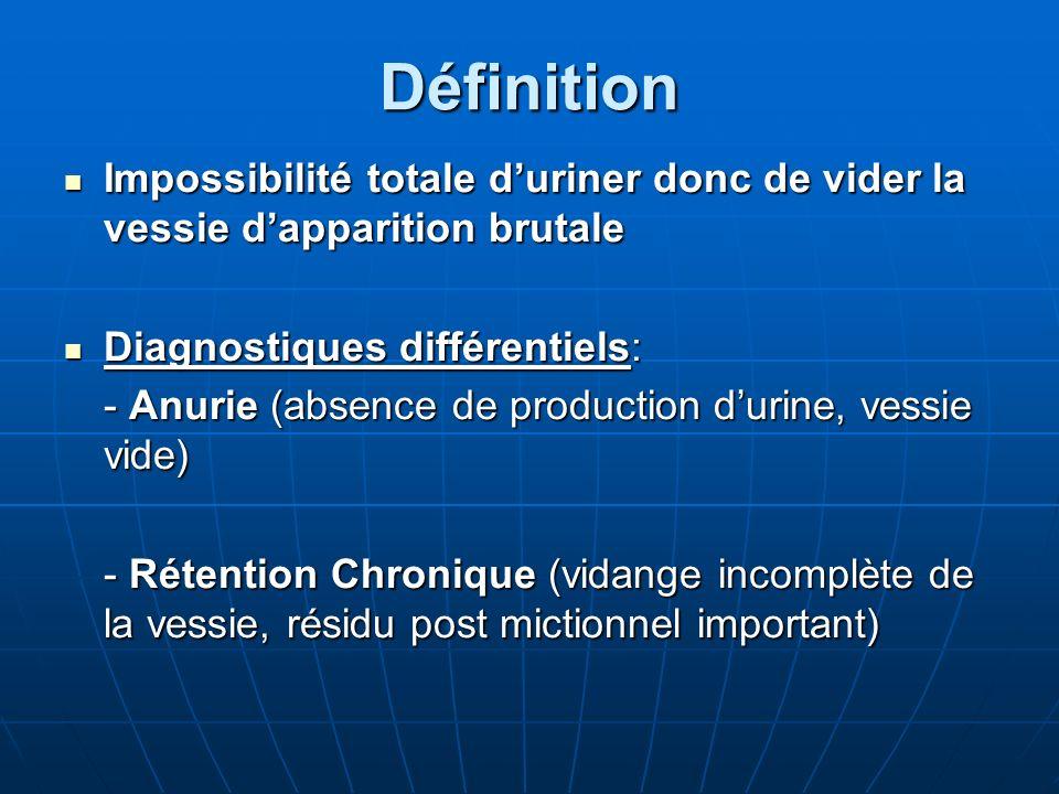Définition Impossibilité totale d'uriner donc de vider la vessie d'apparition brutale. Diagnostiques différentiels: