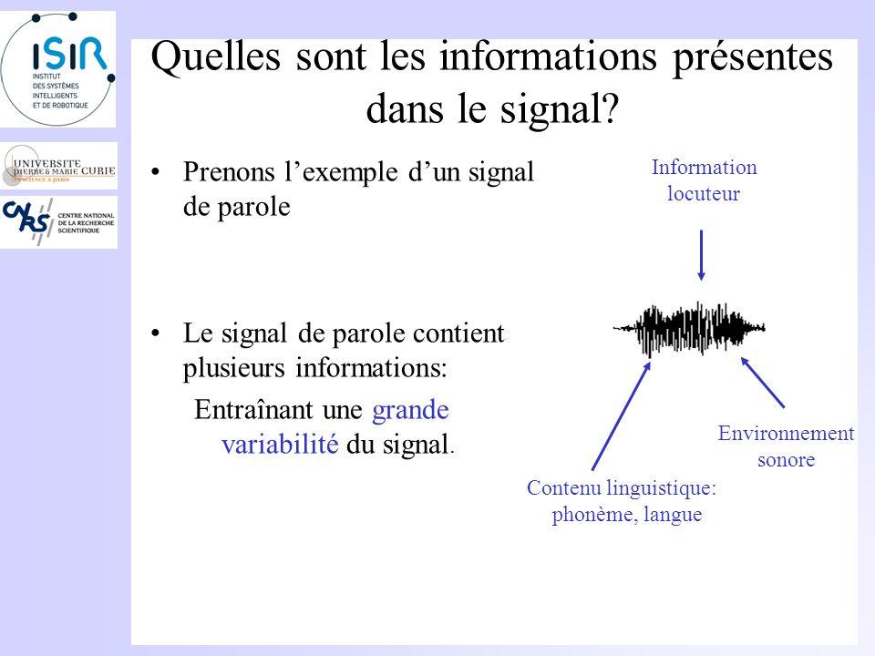 Quelles sont les informations présentes dans le signal