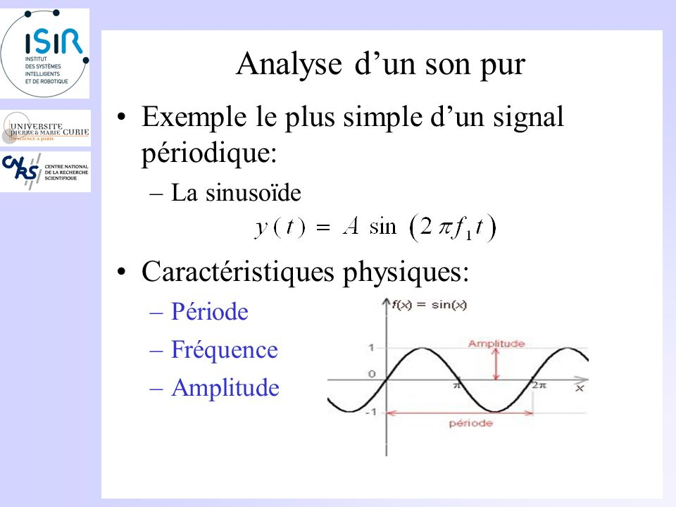 Analyse d'un son pur Exemple le plus simple d'un signal périodique:
