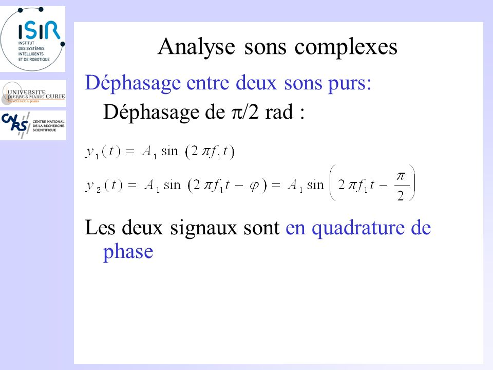 Analyse sons complexes