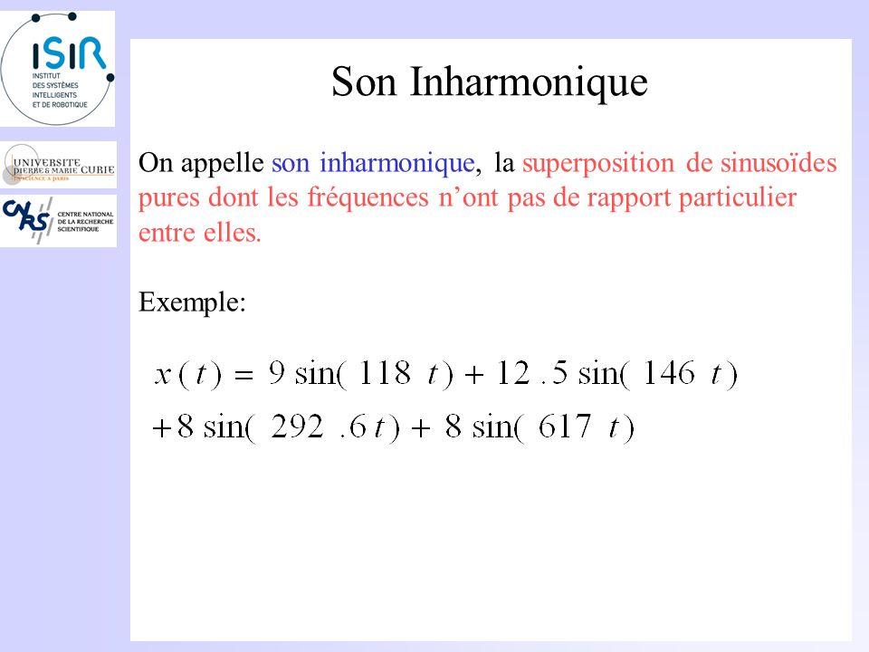 Son Inharmonique On appelle son inharmonique, la superposition de sinusoïdes pures dont les fréquences n'ont pas de rapport particulier entre elles.