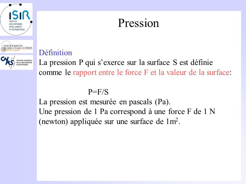Pression Définition. La pression P qui s'exerce sur la surface S est définie comme le rapport entre le force F et la valeur de la surface:
