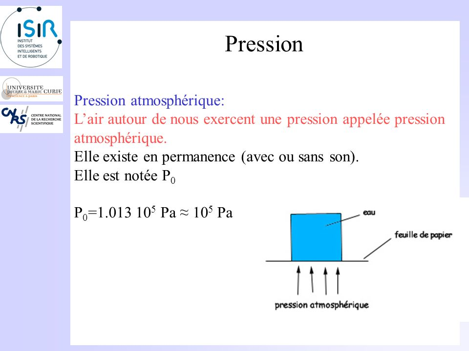 Pression Pression atmosphérique: