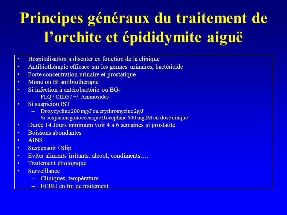 Principes généraux du traitement de l'orchite et épididymite aiguë