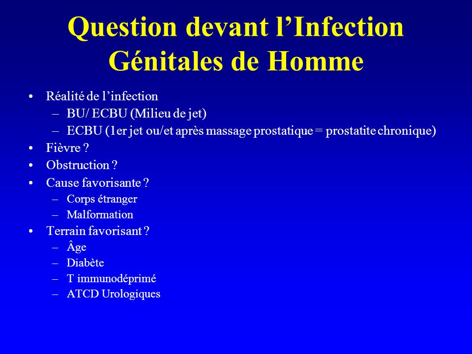 Question devant l'Infection Génitales de Homme
