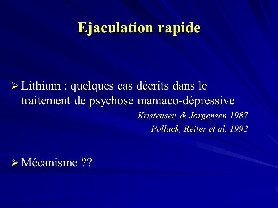 Ejaculation rapide Lithium : quelques cas décrits dans le traitement de psychose maniaco-dépressive.