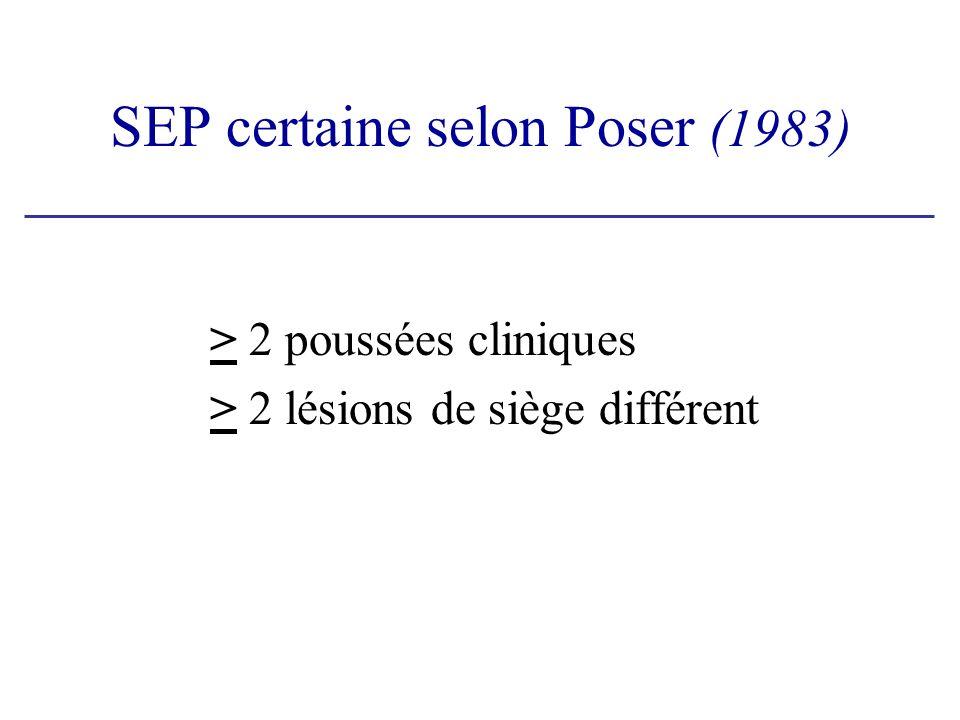 SEP certaine selon Poser (1983)