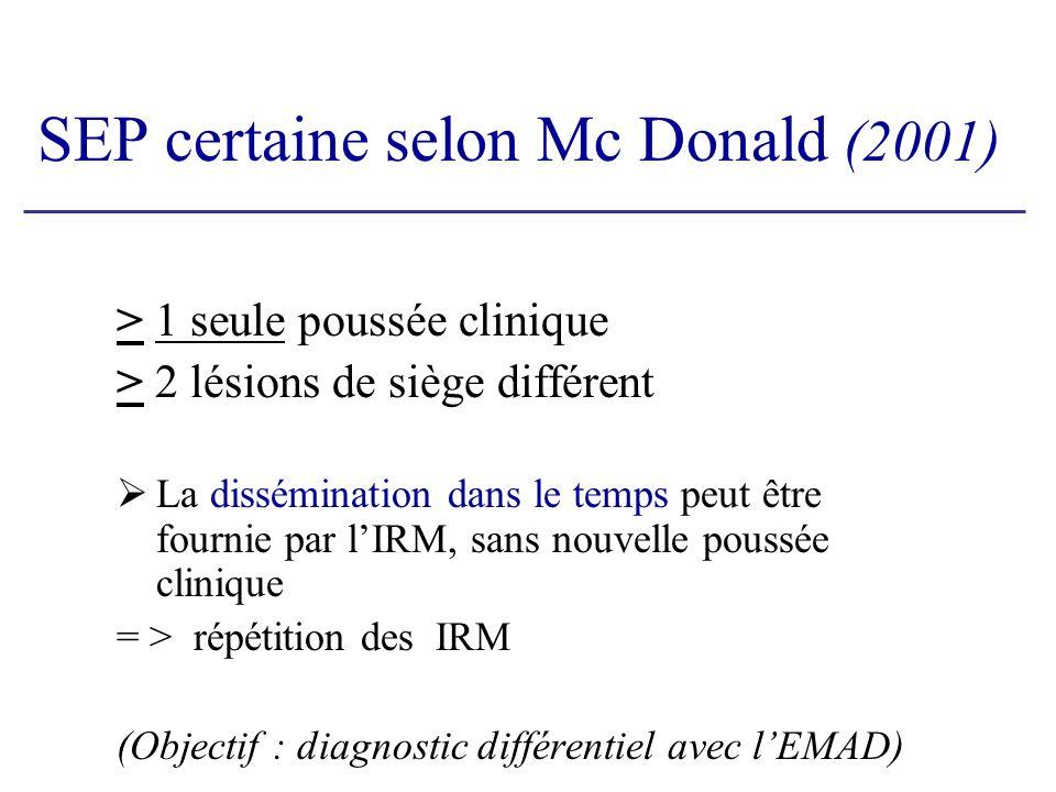 SEP certaine selon Mc Donald (2001)