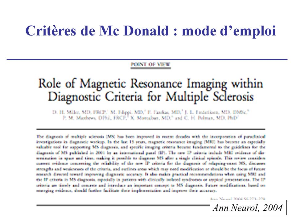 Critères de Mc Donald : mode d'emploi