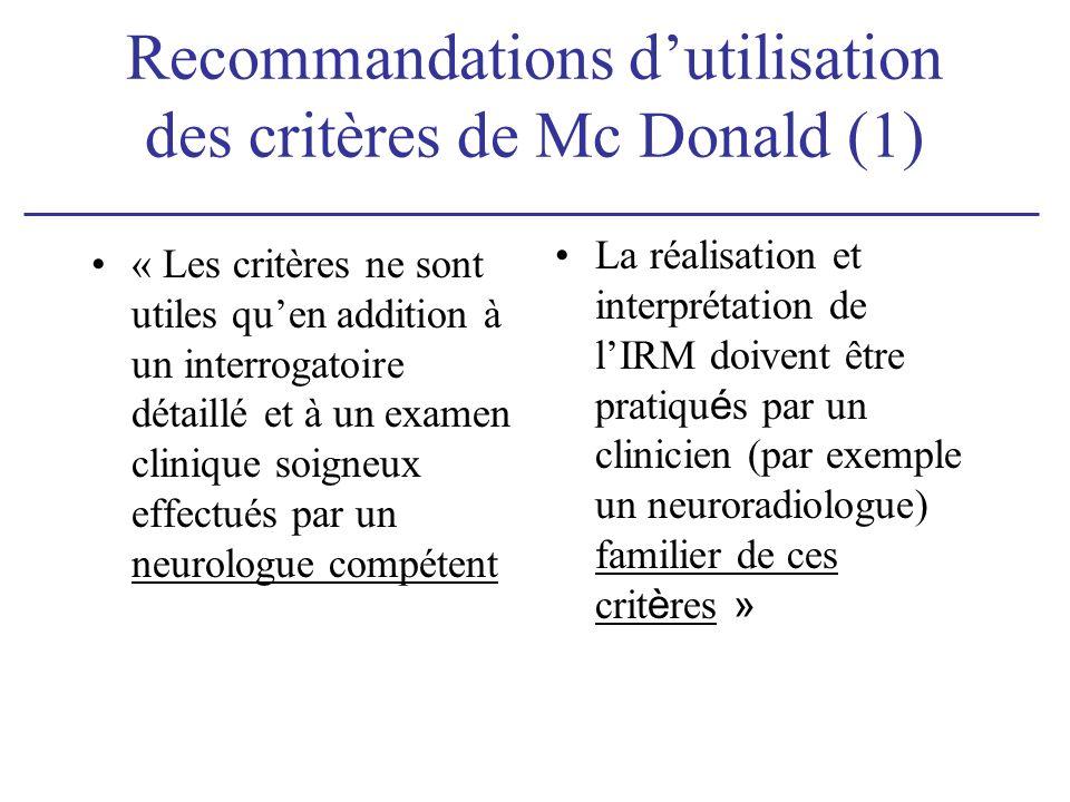 Recommandations d'utilisation des critères de Mc Donald (1)
