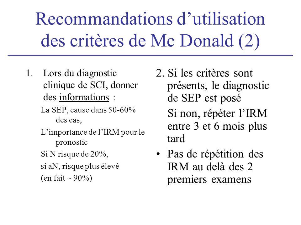 Recommandations d'utilisation des critères de Mc Donald (2)