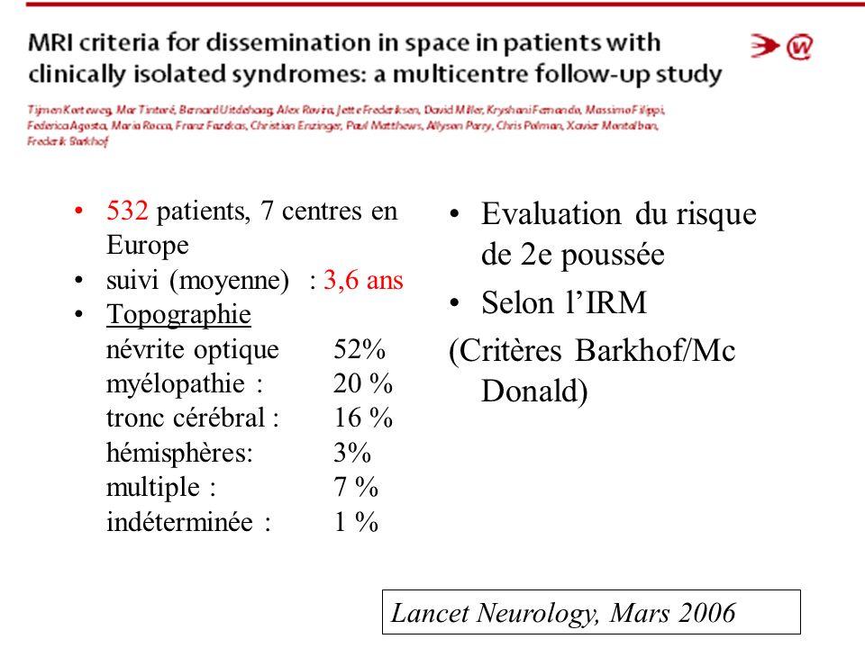 Evaluation du risque de 2e poussée Selon l'IRM