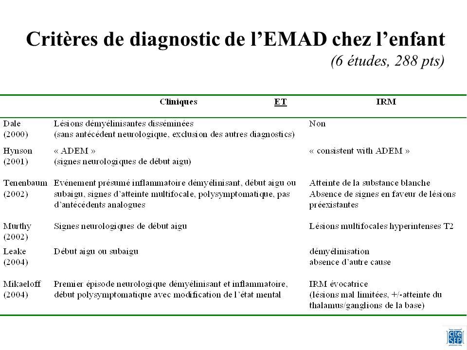 Critères de diagnostic de l'EMAD chez l'enfant