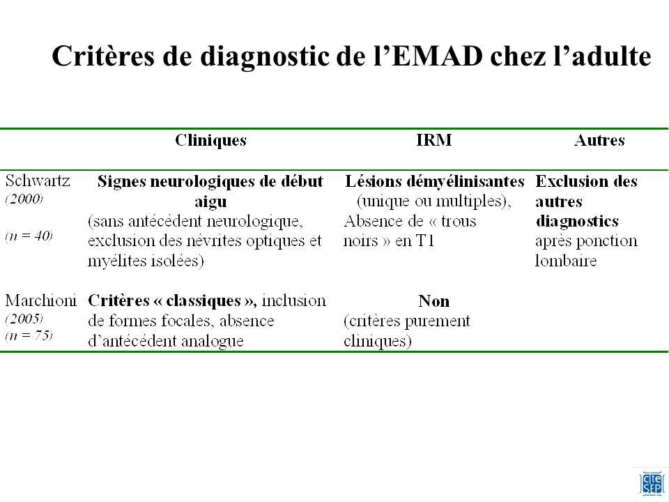 Critères de diagnostic de l'EMAD chez l'adulte