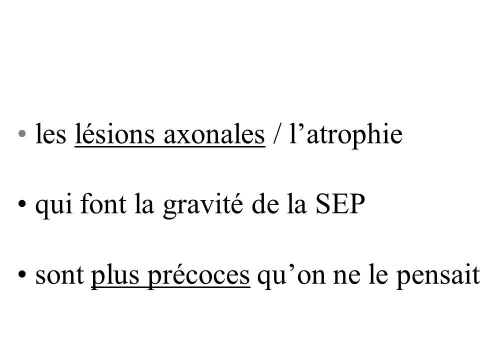 les lésions axonales / l'atrophie
