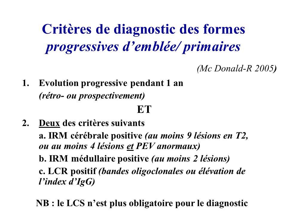 Critères de diagnostic des formes progressives d'emblée/ primaires