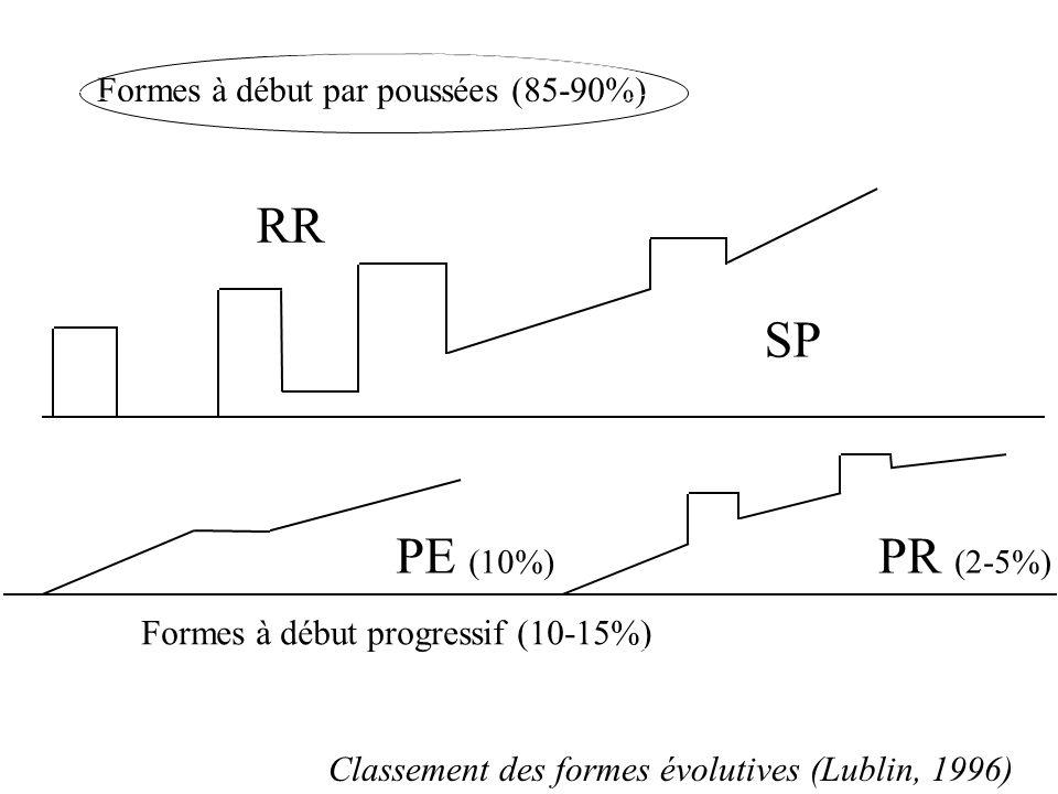RR SP PE (10%) PR (2-5%) Formes à début par poussées (85-90%)