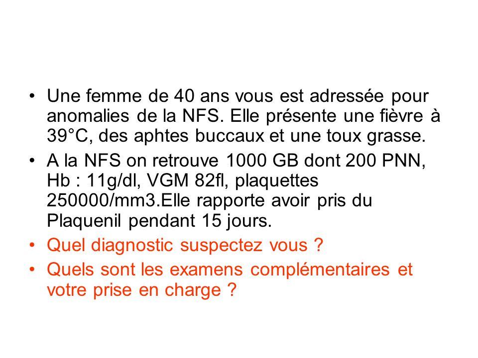 Une femme de 40 ans vous est adressée pour anomalies de la NFS