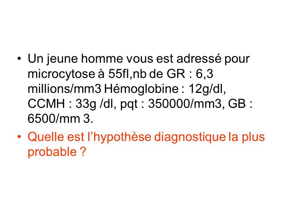 Un jeune homme vous est adressé pour microcytose à 55fl,nb de GR : 6,3 millions/mm3 Hémoglobine : 12g/dl, CCMH : 33g /dl, pqt : 350000/mm3, GB : 6500/mm 3.