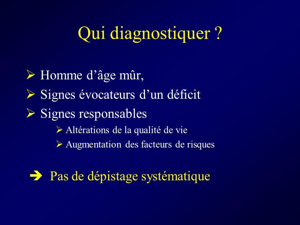 Qui diagnostiquer Homme d'âge mûr, Signes évocateurs d'un déficit