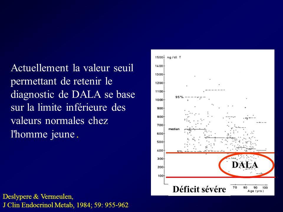 Actuellement la valeur seuil permettant de retenir le diagnostic de DALA se base sur la limite inférieure des valeurs normales chez l homme jeune .