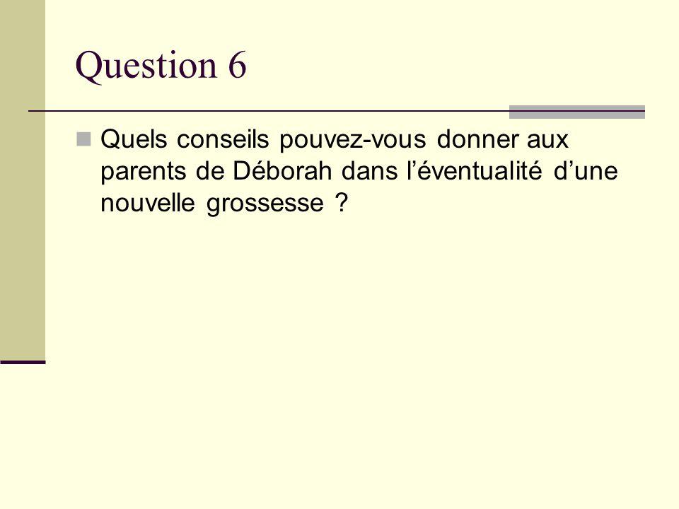 Question 6 Quels conseils pouvez-vous donner aux parents de Déborah dans l'éventualité d'une nouvelle grossesse