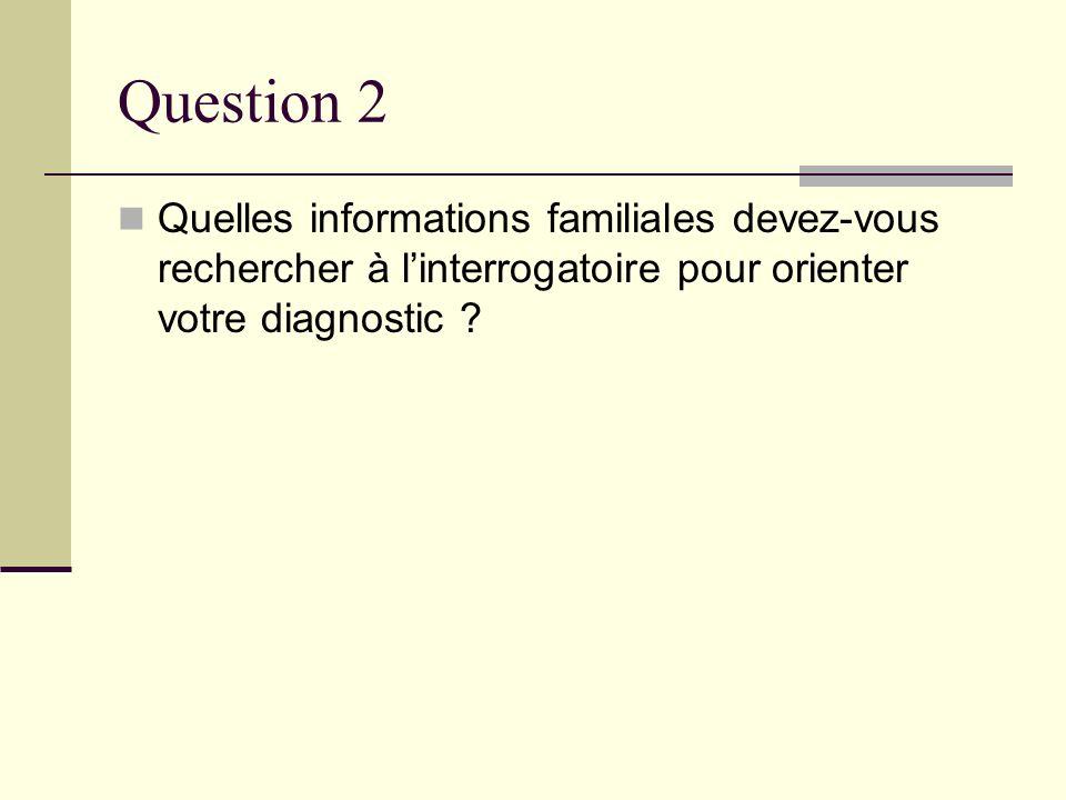 Question 2 Quelles informations familiales devez-vous rechercher à l'interrogatoire pour orienter votre diagnostic
