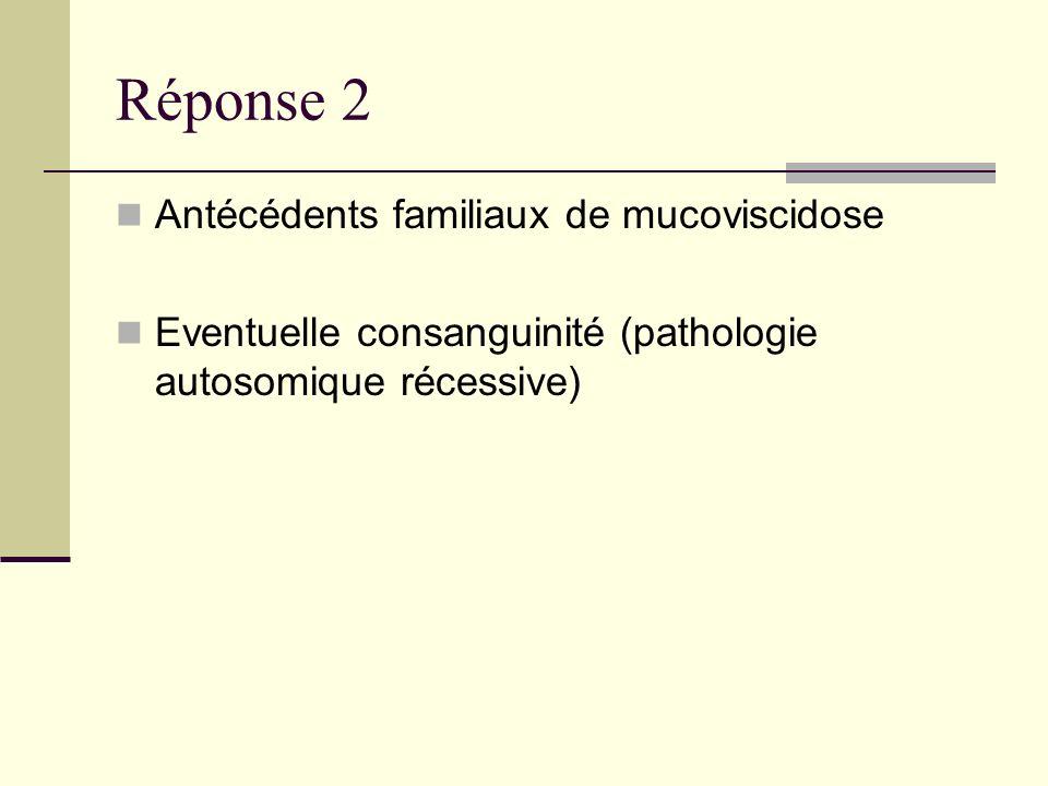 Réponse 2 Antécédents familiaux de mucoviscidose