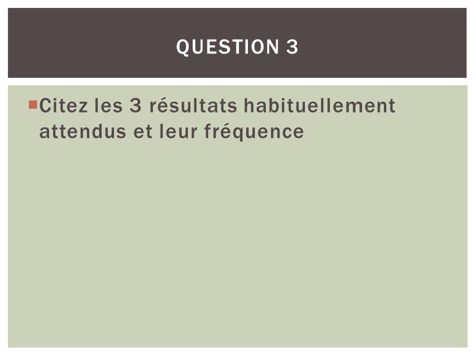 Question 3 Citez les 3 résultats habituellement attendus et leur fréquence