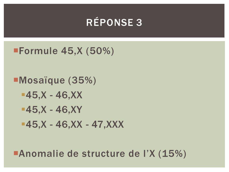 Réponse 3 Formule 45,X (50%) Mosaïque (35%) 45,X - 46,XX.