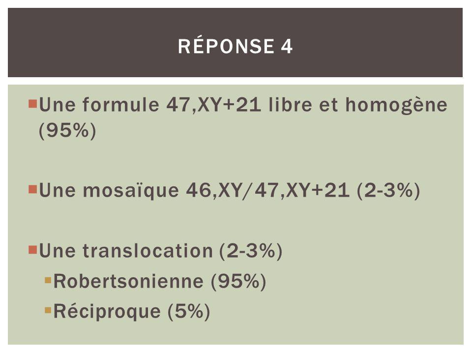 Réponse 4 Une formule 47,XY+21 libre et homogène (95%) Une mosaïque 46,XY/47,XY+21 (2-3%) Une translocation (2-3%)