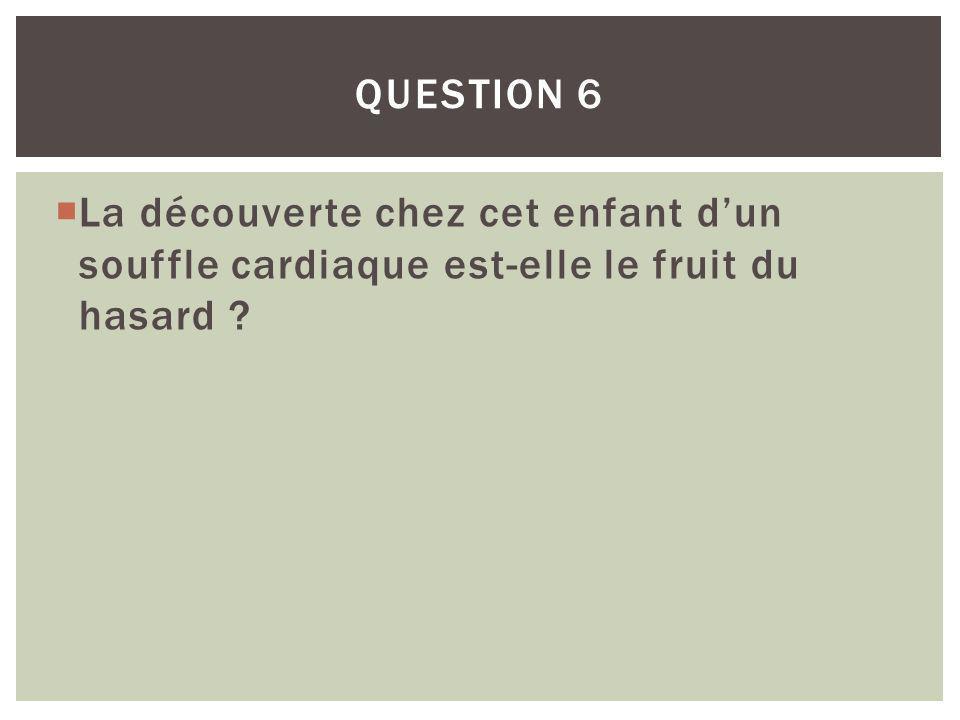 Question 6 La découverte chez cet enfant d'un souffle cardiaque est-elle le fruit du hasard