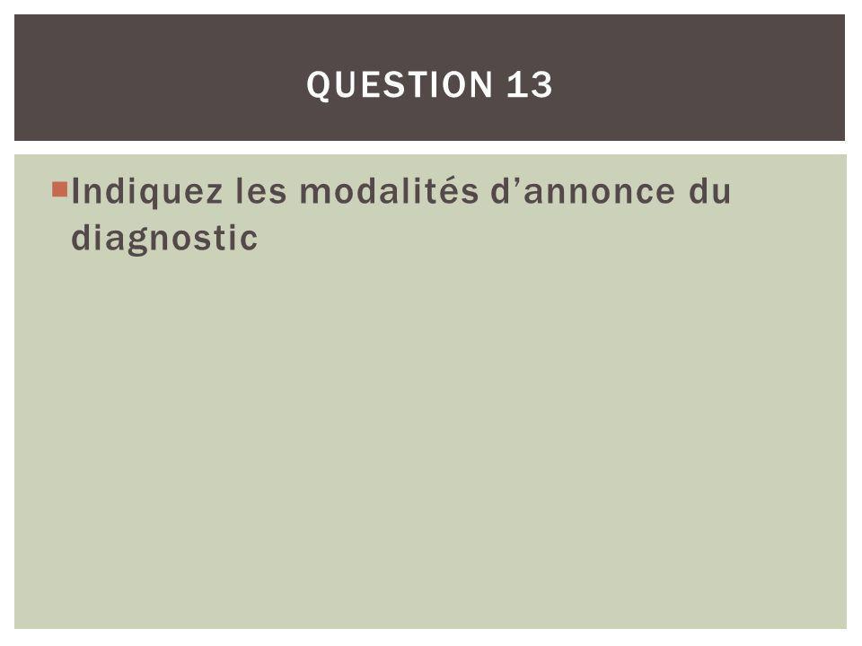 Question 13 Indiquez les modalités d'annonce du diagnostic